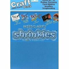 6 Sheets Large Size Crystal Clear SHRINKLES Plastic Shrink Art 260mm X 200mm