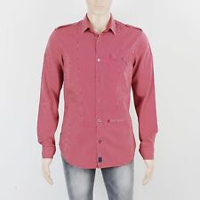 River Island Mens Size M Burgundy Stripe Long Sleeve Shirt