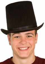 ADULT BLACK TALL FELT LINCOLN GENTLEMAN VICTORIAN DICKENS COSTUME TOP HAT SLASH