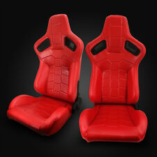 Universal Red PVC Leather Left/Right Sport Racing Bucket Seats + Slider Pair