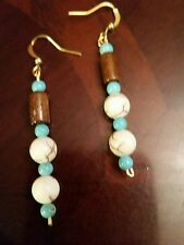 "Native American Blue & White Turquoise Earrings 2 ¼"" long"