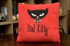 "Bad Kitty Hot Topic Red Pillow Black Cat Plush 11.5"" x 11.5"" ~ Late 90s Vintage"