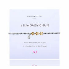 Official Joma Jewellery a little daisy chain flowers silver bracelet & gift bag