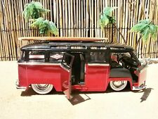 "1962 CLASSIC VW BUS 6"" WOOD SURFBOARD 3 STRINGER LONGBOARD 60'S SURF LOGO'S 1:24"