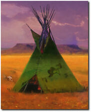 Green Buffalo Lodge by R. Tom Gilleon - Canvas - Tipi - Indian Art
