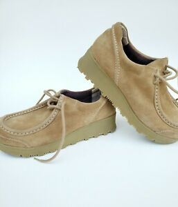 Mudd Platform Chunky Shoes Womens Size 10 Tan Suede Leather Clogs Vtg 90s Y2K