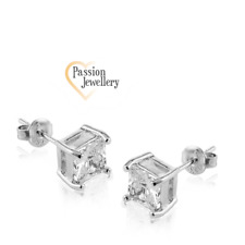 Square Cut Stud Earrings Made with Crystal Cubic Zirconia
