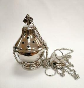 NEW SILVER PLATED CATHOLIC CHURCH CENSER THURIBLE from Italy new!