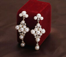 Fashion Wedding Bride Pearl Rhinestone Flower Square Drop Dangle Stud Earring