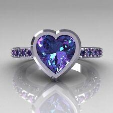 Hot Women Men 925 Silver 2.35Ct Heart Amethyst Wedding Engagement Ring Size 7