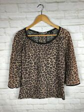 8706d1f10a889c Maison Scotch Top Womens Leopard Print Scoop Neck Blouse Top 3 4 Sleeve Sz 1