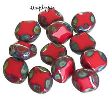 Red Picasso Table-Cut Oval Czech Glass Beads 9x8mm 12 Pcs