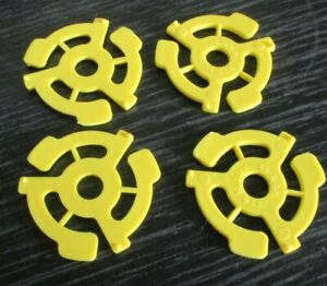 "4 yellow spiders-  Spider Centre adaptors for 7"" Vinyl Records"