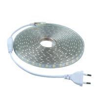 LED SMD 5050 1M 2M 5M 10M striscia strip bobina spina 220V BIANCA TUBO ESTERNO