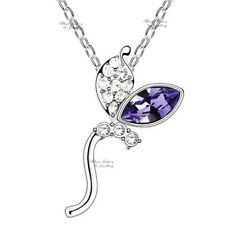 18K White Gold Filled Made With Swarovski Element Amethyst Leaves Necklace