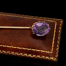 Antique Vintage Nouveau 14k Gold Rose de France Amethyst Brooch Lapel Stick Pin