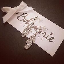 Silver plated feather stud earrings bijoux gypsy jewellery boho good luck