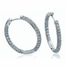 Snap Closure Excellent Cut White Gold Fine Diamond Earrings
