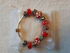 """bracelet de perles rouges façon """"Pandora"""""""
