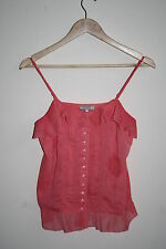 Guess Woman's Fashion Designer ButtonedTop Vest Spaghetti Strap Top Pink Size S