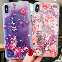 For iPhone X XS Max XR Cute Bling Glitter Liquid Quicksand Pattern Case Cover