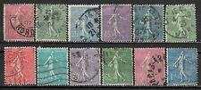 1903-1938 FRANCE 12 USED STAMPS (Sc.# 138,139,141-143,148,150,151,154) CV $12.75
