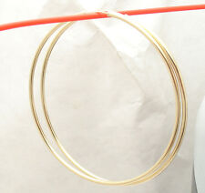 "2mm X 70mm 2 3/4"" Large Plain Shiny Endless Hoop Earrings REAL 14K Yellow Gold"