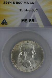 1954-S .50   ANACS  MS 65    Franklin Half Dollar, Benjamin Half,Bell Half