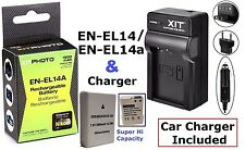 Super Hi EN-EL14a Li-Ion Battery With Dual Volt Charger For Nikon D3400 D5600