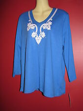 ALLISON DALEY Women's V-Neck Into the Blue Shirt - Size Petite Large PL - NWT