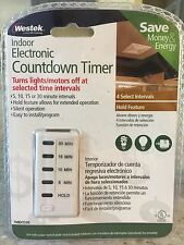 Westek TMDCD30 Hardwire Indoor Countdown 5-Settings Wall Switch Timer, White NEW