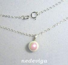 925 Sterling Silber Damen Mädchen Halskette 42 cm & Anhänger Perle creme + Etui
