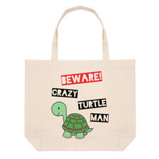 Beware Crazy Turtle Man Large Beach Tote Bag - Funny Shopper Shoulder