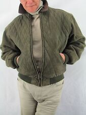 Timberland Men's Green Leather Diamond Quilt Jacket,  Wool Sleeves   Size M  WOR