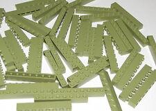 Lego Lot of 50 New Olive Green Bricks 1 x 8 Building Blocks Pieces