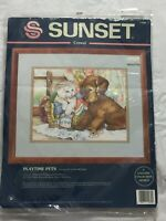 Playtime Pets 1995 Dimensions Sunset Crewel Embroidery Kit #11089 Puppy Kitten