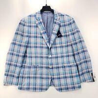 NWT Izod Men's Blue Plaid Sport Coat Jacket Blazer Size 46 Regular MSRP $160.00