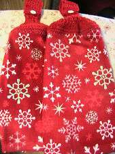 SNOWFLAKES ON RED~2 CHRISTMAS crochet top~SNOWFLAKE BUTTONS kitchn bath towels