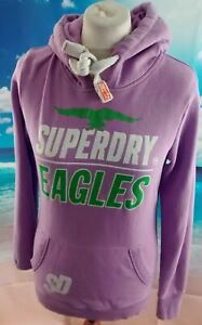 Superdry lilac purple spell out logo cotton blend Hoodie. UK women's size Medium