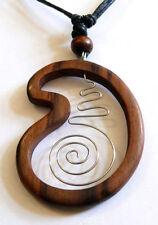 Wooden Necklace Wood Ethnic Pendant Bali Tribal Beach Brown Spiral Handmade