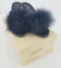 All Abouts Womens Vintage Slip On Fox Fur Kitten Black Heels Sandals Size 7.5 B