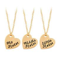 "3PCS/SET Sisterhood Necklace Chain Heart Pendant ""Little Middle Big Sister"""