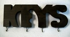 "4 Key Holder Wall Hanger Carved Wood Letters Handmade Rack 10"" x 3 1/2"" Vtg  #11"
