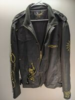 Ed Hardy by Christian audigier amazing RARE gold embroidery men's jacket size xl