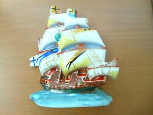 Ditmar Urbach Czech Pottery Vintage Hand Painted Sailing Ship / Galleon