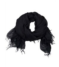 New Chan Luu Women Long Crinkle Soft Cashmere Silk Neck Scarf Wrap Black