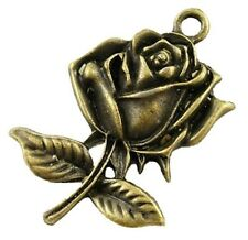 10 Antique Bronze Rose Flower Charms  STEAMPUNK Victoriana Roses Pendants 25mm