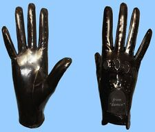 NEW WOMENS size 6.5 BLACK GENUINE PATENT LAMBSKIN LEATHER DRIVING GLOVES
