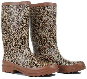 Leopard Design Gumboots Wellies Ladies Womens Rain boots Size 9/40 10/41 *New*