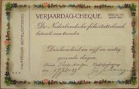 1929 Postcard Shaped like Certificate/Bank Check/Cheque